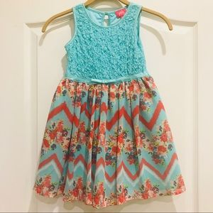 Girls floral & chevron Spring/Easter dress